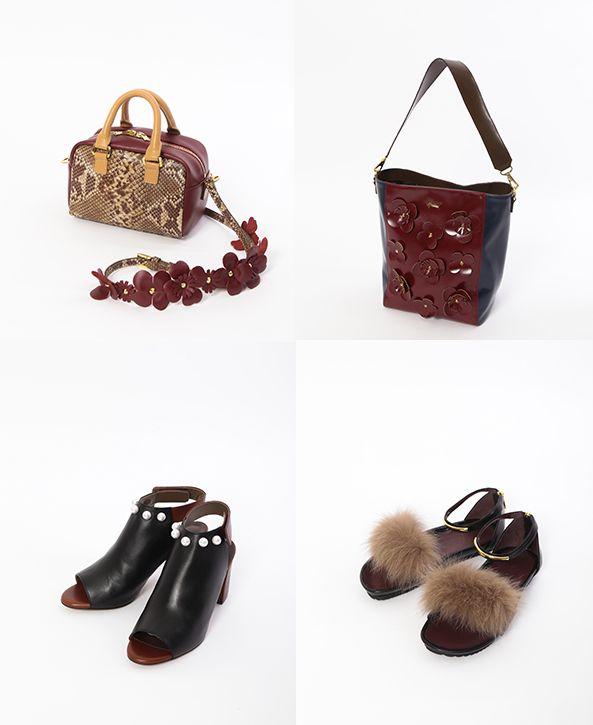 「MUVEIL」プレフォールのお薦めシューズ&バッグ パール付きブーティやファーサンダル、花モチーフバッグ