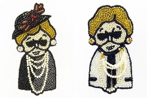 刺繍作家、小林モー子さんが手がけるグランマブローチに、ファー襟ポロ、ファー付きデニムパンツ