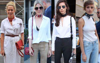 プチスカーフ、バンダナ首巻き 夏の白服との組み合わせ方