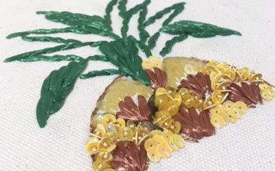 6月の刺繍教室はパイナップル柄 GALLERY MUVEILで開催