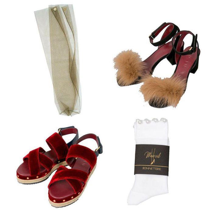 ファーやベルベット、チュールを味方に 「MUVEIL」プレフォールの靴とソックス