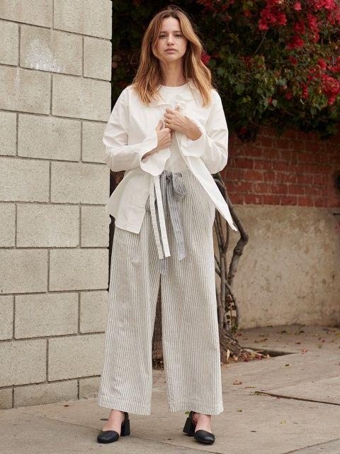 「シャツ・ブラウス、アンクルパンツ、オールインワン、ラッフル服」着こなし @ EDITOR'S CLIPS
