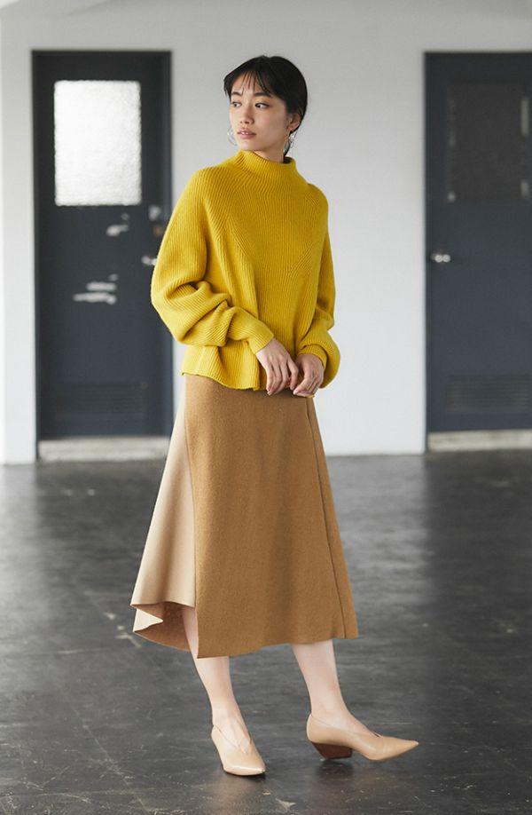 冬の着ぶくれオフの決め手は「フェミニンなスカート」