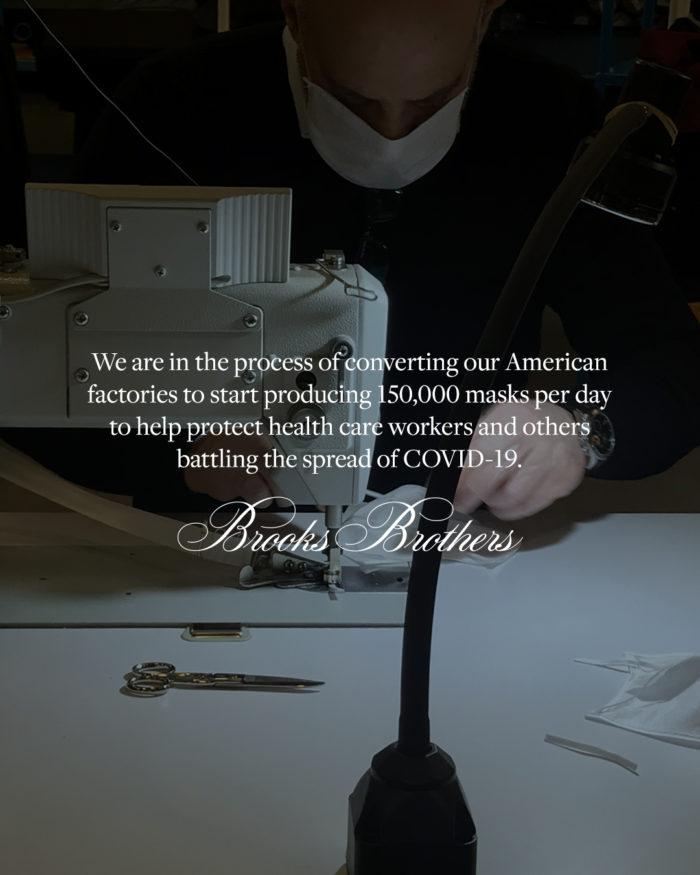 「Brooks Brothers(ブルックス ブラザーズ)」、マスクを生産 医療従事者へ提供