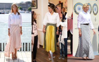 定番の白シャツをロングスカートに合わせるだけで、オシャレに変身!王妃たちの初夏スタイル