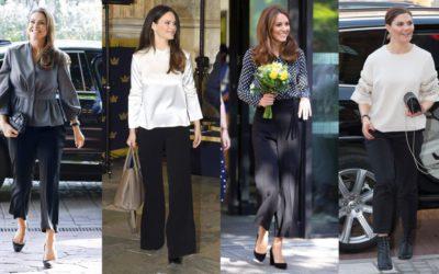 定番の黒パンツをエレガントに着こなす方法が判明!王妃たちのブラウス姿に注目
