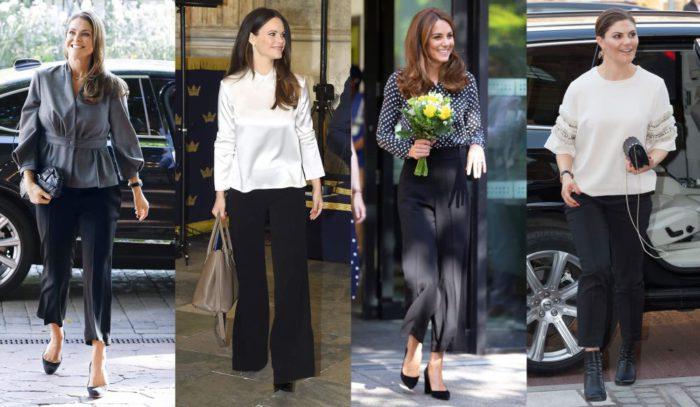 定番の黒パンツをエレガントに着こなす方法が判明 王妃たちのブラウス姿に注目