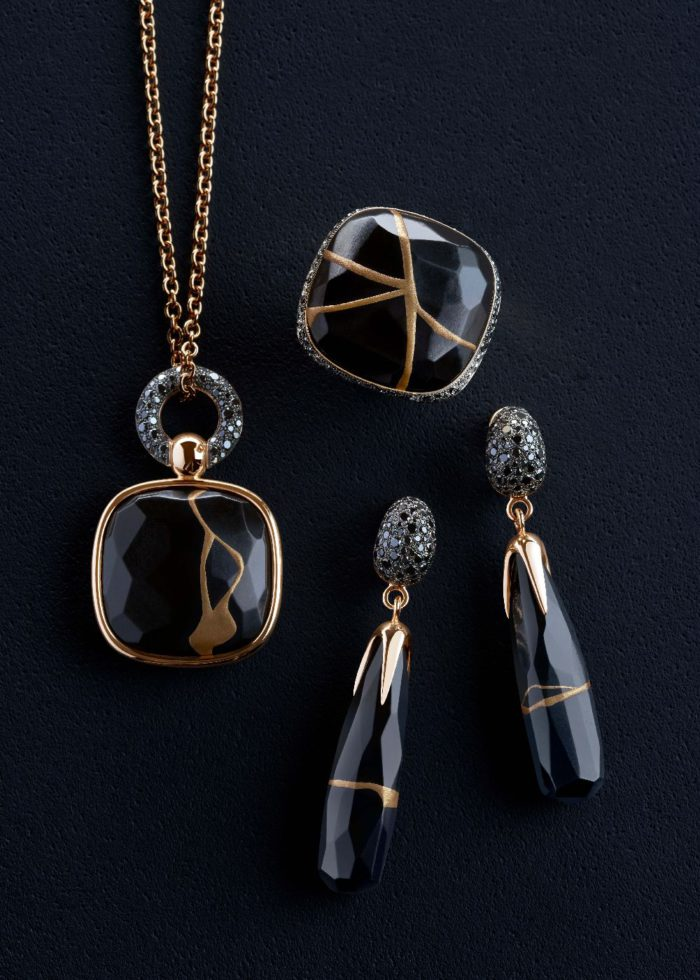 Pomellato Kintsugi Collection_ring, earrings and pendant in rose gold with jet and black diamonds