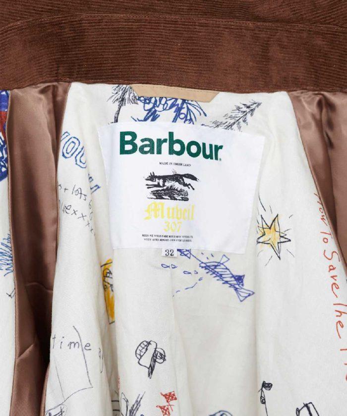 裏地に落書き風モチーフ 「MUVEIL(ミュベール)」、「Barbour(バブアー)」とのコラボジャケットを発売