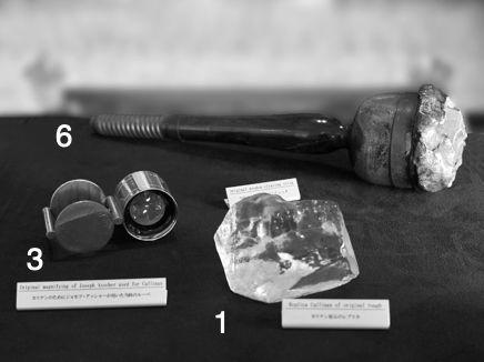 1:世界最大のダイヤモンド原石「カリナン」(レプリカ) / 3:ジョセフ・アッシャーが特注した専用ルーペ / 6:「カリナンI世」のカットの際にダイヤモンドを固定した木製の土台